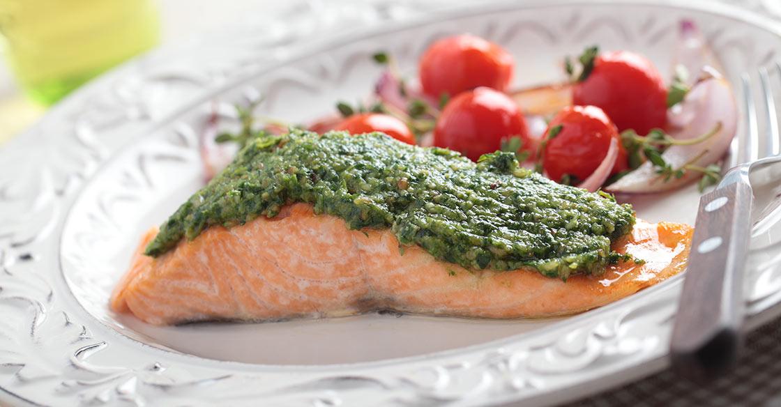 Recette minceur, saumon au pesto
